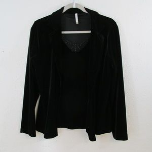 White Stag Woman's Velvet Black Long Sleeve Shirt